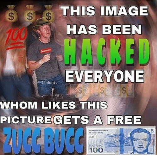 Anaconda, Free, and Image: THIS IMAGE  HAS BEEN  HACKED  EVERYONE  @32blunts  WHOM LIKES THIS  PICTUREGETS A FREE  ZUCC BUCC  zucc bucc  100