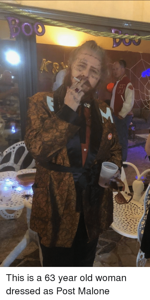 Old woman: This is a 63 year old woman dressed as Post Malone