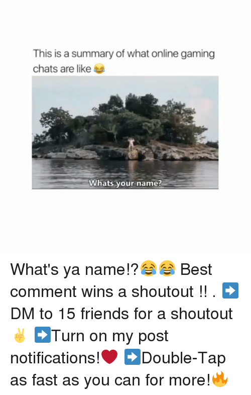 Friends, Memes, and Best: This is a summary of what online gaming  chats are like  Whats your name? What's ya name!?😂😂 Best comment wins a shoutout !! . ➡DM to 15 friends for a shoutout✌ ➡Turn on my post notifications!❤ ➡Double-Tap as fast as you can for more!🔥