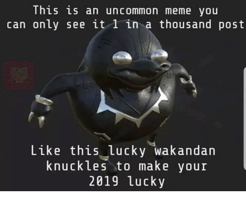 Meme, Memes, and 🤖: This is an uncommon meme you  can on Ly see lt l ln a thousand post  Like this lucky wakandan  knuckles to make your  2019 lucky
