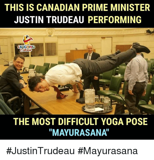 "Yoga, Canadian, and Justin Trudeau: THIS IS CANADIAN PRIME MINISTER  JUSTIN TRUDEAU PERFORMING  AUGHINCO  THE MOST DIFFICULT YOGA POSE  ""MAYURASANA"" #JustinTrudeau #Mayurasana"