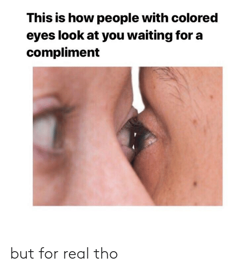 Reddit, Waiting..., and How: This is how people with colored  eyes look at you waiting for a  compliment but for real tho