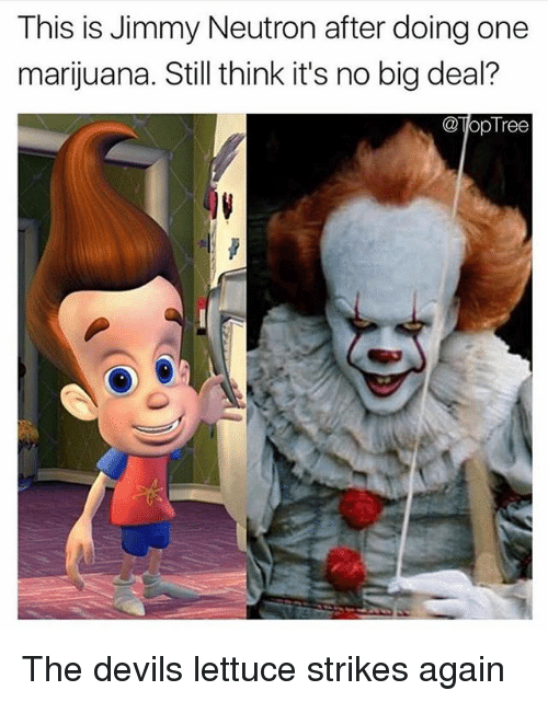 Bigly: This is Jimmy Neutron after doing one  marijuana. Still think it's no big deal?  @TopTree The devils lettuce strikes again