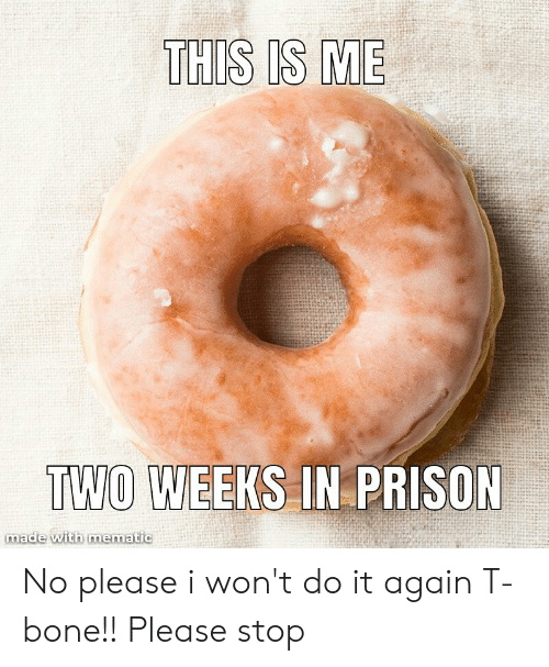 I Wont Do It Again: THIS IS ME  TWO WEEKS IN PRISON  made with mematic No please i won't do it again T-bone!! Please stop