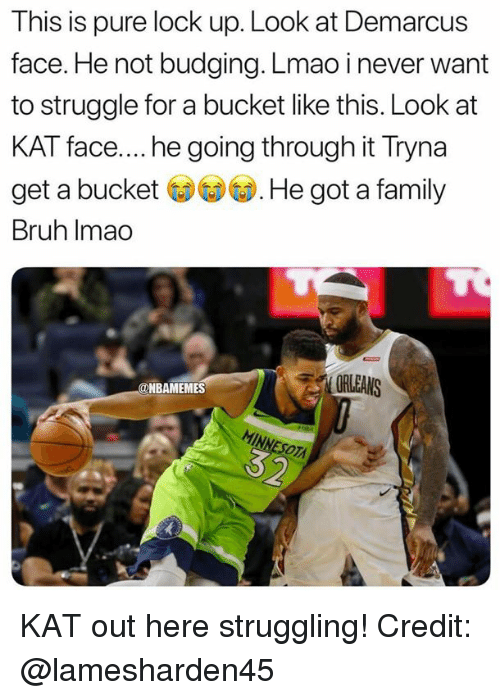 Bruh, Family, and Lmao: This is pure lock up. Look at Demarcus  face. He not budging. Lmao inever want  to struggle for a bucket like this. Look at  KAT face.... he going through it Tryna  get a buckeHe got a family  Bruh Imao  ORLEANS  @NBAMEMES KAT out here struggling! Credit: @lamesharden45