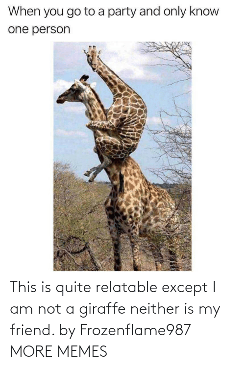 Quite: This is quite relatable except I am not a giraffe neither is my friend. by Frozenflame987 MORE MEMES