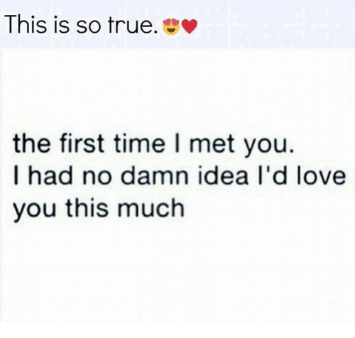 Love, Memes, and True: This is so true.  the first time I met you.  I had no damn idea I'd love  you this much