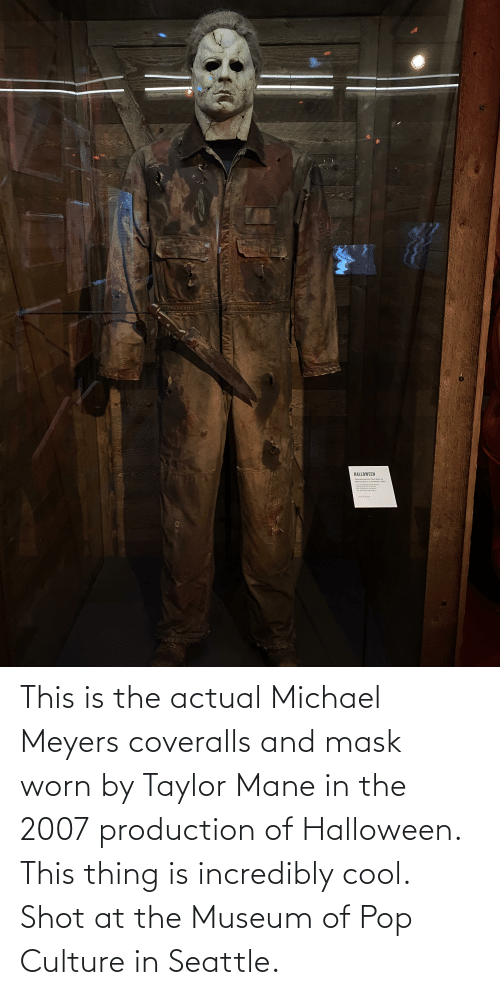 pop culture: This is the actual Michael Meyers coveralls and mask worn by Taylor Mane in the 2007 production of Halloween. This thing is incredibly cool. Shot at the Museum of Pop Culture in Seattle.