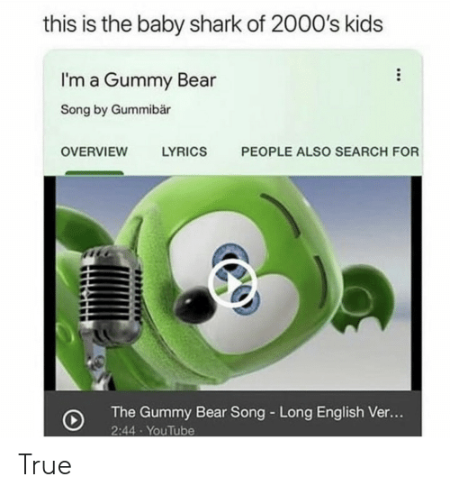 Overview: this is the baby shark of 2000's kids  I'm a Gummy Bear  Song by Gummibär  PEOPLE ALSO SEARCH FOR  OVERVIEW  LYRICS  The Gummy Bear Song Long English Ve...  2:44 YouTube True