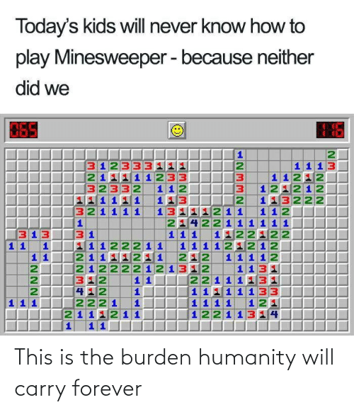 burden: This is the burden humanity will carry forever