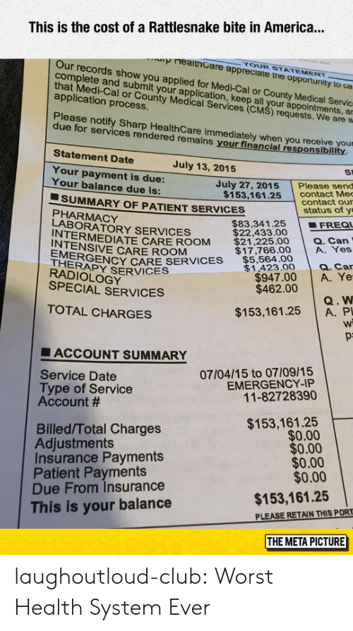 Tne: This is the cost of a Rattlesnake bite in America...  YOUR STATEMENT  p reaithCare appreciate tne opportunity to ca  Our records show you  com  complete and suvro y applied for Medi-Cal or County Medical Servc  plete and submit your application, keep all ap  that Medi-Cal or County Medical csl your appointments, a  application process  al or County Medical Services (CM  S) requests. We are a  Please notify Sharp Health Care immediately when you receive your  due for services rendered remains your financial responsiblility  Statement Date  July 13, 2015  St  Your payment is due:  Your balance due is:  July 27, 2015Please send  contact Me  contact our  $153,161.25  ■ SUMMARY OF PATIENT SERVICES  status of y  PHARMACY  LABORATORY SERVICES  $83,341.25 | ■FREQI  RMEDIATE CARE ROOM $21,225.00 a. Can  INTENSIVE CARE ROOM  EYRVIS$5,564.00  HERAPY SERVICES  $17,766.00 A. Yes  $1,423.0 Q. Car  $947.00 A. Ye  $462.00  RADIOLOGY  SPECIAL SERVICES  Q. W  $153,161.25 A. P  Wi  TOTAL CHARGES  ■ ACCOUNT SUMMARY  07/04/15 to 07/09/15  EMERGENCY-IP  11-82728390  Service Date  Type of Service  Account #  $153,161.25  $0.00  $0.00  $0.00  $0.00  Billed/Total Charges  Adjustments  Insurance Payments  Patient Payments  Due From Insurance  This is your balance  $153,161.25  PLEASE RETAIN THIS PORT  THE META PICTURE laughoutloud-club:  Worst Health System Ever
