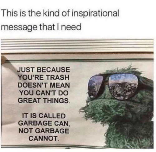 Dank, Trash, and Mean: This is the kind of inspirational  message that I need  JUST BECAUSE  YOU'RE TRASH  DOESN'T MEAN  YOU CAN'T DO  GREAT THINGS  IT IS CALLED  GARBAGE CAN,  NOT GARBAGE  CANNOT.
