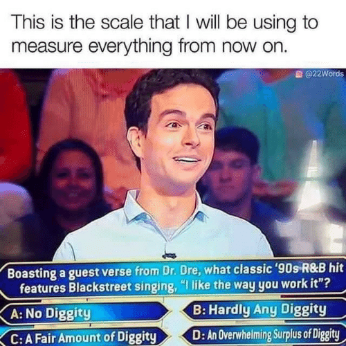"Singing: This is the scale that I will be using to  measure everything from now on.  @22Words  Boasting a guest verse from Dr. Dre, what classic '90s R&B hit  features Blackstreet singing, ""I like the way you work it""?  B: Hardly Any Diggity  A: No Diggity  D: An Overwhelming Surplus of Diggity  C:A Fair Amount of Diggity"