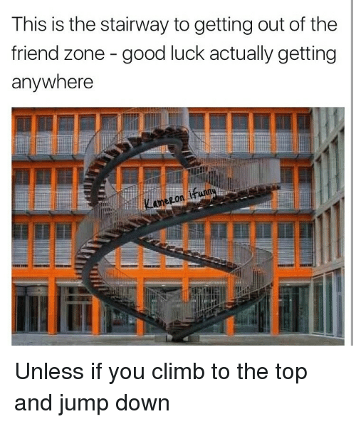 Good, Luck, and Top: This is the stairway to getting out of the  friend zone - good luck actually getting  anywhere  Lamezon <p>Unless if you climb to the top and jump down</p>