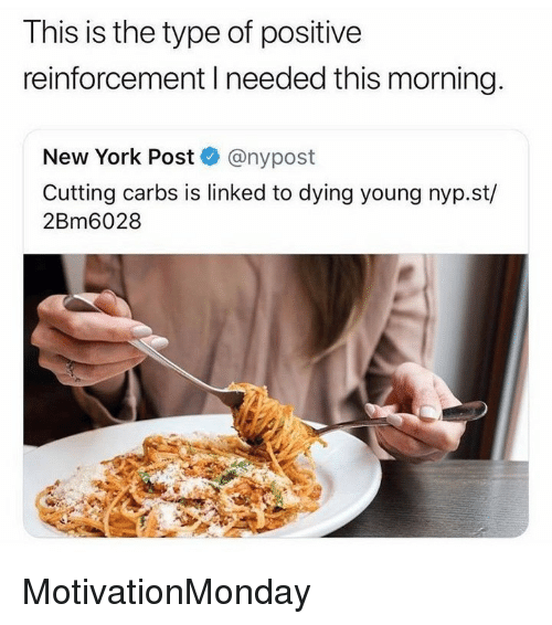 Memes, New York, and New York Post: This is the type of positive  reinforcement I needed this morning.  New York Post @nypost  Cutting carbs is linked to dying young nyp.st/  2Bm6028 MotivationMonday