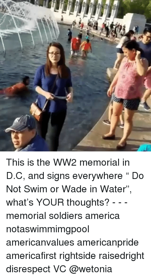 """America, Memes, and Soldiers: This is the WW2 memorial in D.C, and signs everywhere """" Do Not Swim or Wade in Water"""", what's YOUR thoughts? - - - memorial soldiers america notaswimmimgpool americanvalues americanpride americafirst rightside raisedright disrespect VC @wetonia"""
