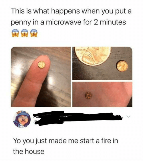 in the house: This is what happens when you put a  penny in a microwave for 2 minutes  AERT  Yo you just made me start a fire in  the house