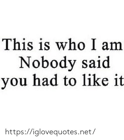 Like It: This is who I am  Nobody said  you had to like it https://iglovequotes.net/