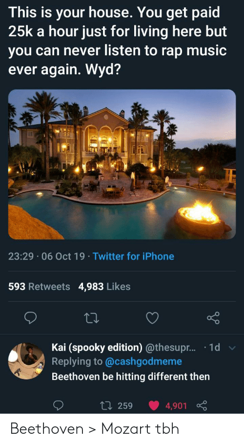 Wyd: This is your house. You get paid  25k a hour just for living here but  you can never listen to rap music  ever again. Wyd?  23:29 06 Oct 19 Twitter for iPhone  593 Retweets  4,983 Likes  Kai (spooky edition) @thesupr... .1d  Replying to @cashgodmeme  Beethoven be hitting different then  L 259  4,901 Beethoven > Mozart tbh
