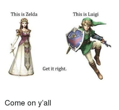 Get It Right: This is Zelda  This is Luigi  Get it right. Come on y'all