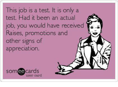 Dank, Test, and Been: This job is a test. It is only a  test. Had it been an actual  ou woU  Raises, promotions and  other signs of  appreciation.  somee cards  user card