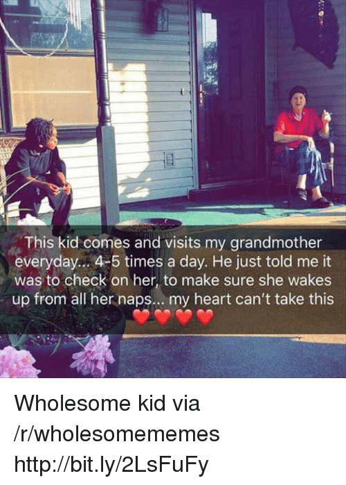 Heart, Http, and Wholesome: This kid comes and visits my grandmother  everyday.. 4-5 times a day. He just told me it  was to check on her, to make sure she wakes  up from all her naps.. . my heart can't take this Wholesome kid via /r/wholesomememes http://bit.ly/2LsFuFy