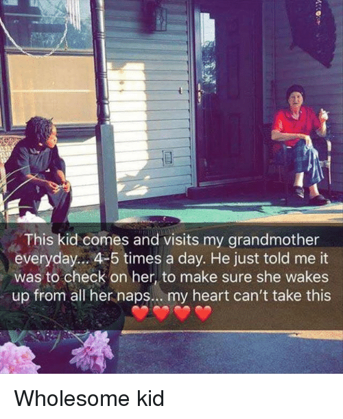 Heart, Wholesome, and Her: This kid comes and visits my grandmother  everyday.. 4-5 times a day. He just told me it  was to check on her, to make sure she wakes  up from all her naps.. . my heart can't take this Wholesome kid