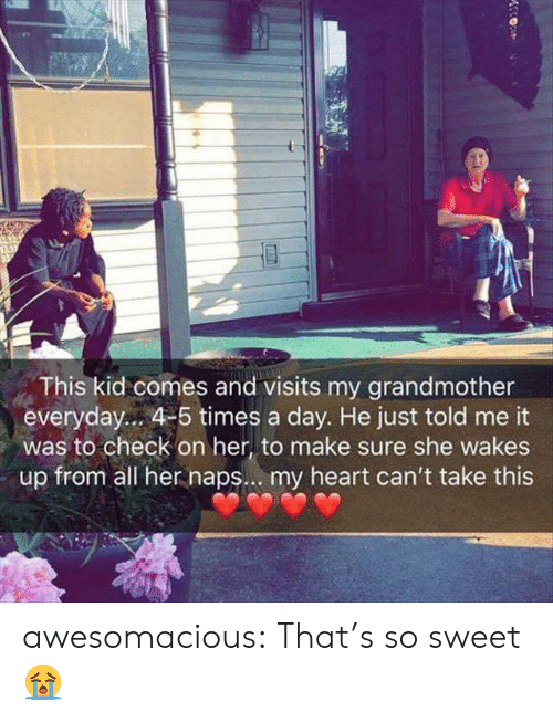 So Sweet: This kid comes and visits my grandmother  everyday... 4-5 times a day. He just told me it  was to check on her, to make sure she wakes  up from all her naps... my heart can't take this awesomacious:  That's so sweet 😭