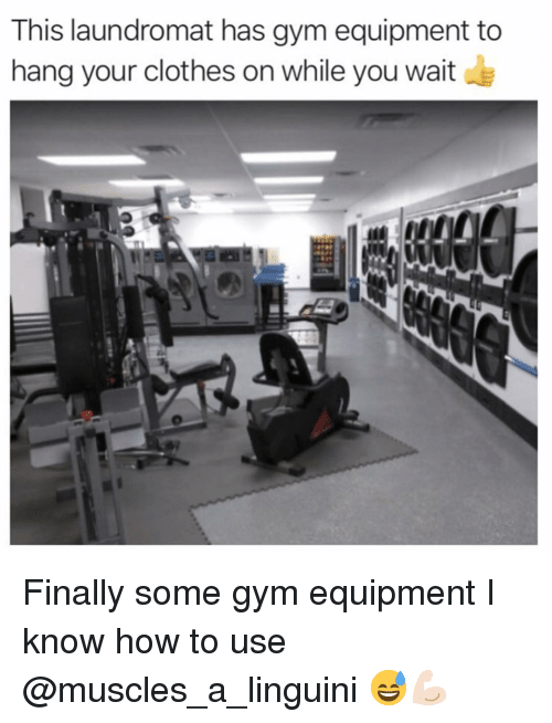 Clothes, Funny, and Gym: This laundromat has gym equipment to  hang your clothes on while you wait Finally some gym equipment I know how to use @muscles_a_linguini 😅💪🏻