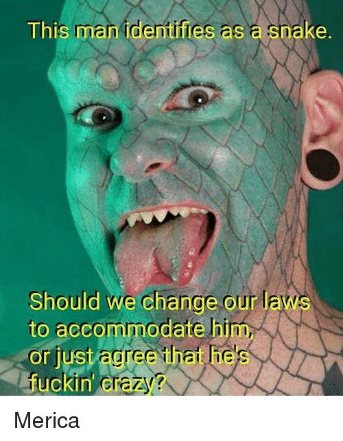accommodating: This man identifies a  a enake.  Should we change our laws  to accommodate him,  or just agree hat hes  fuckin Crazy Merica