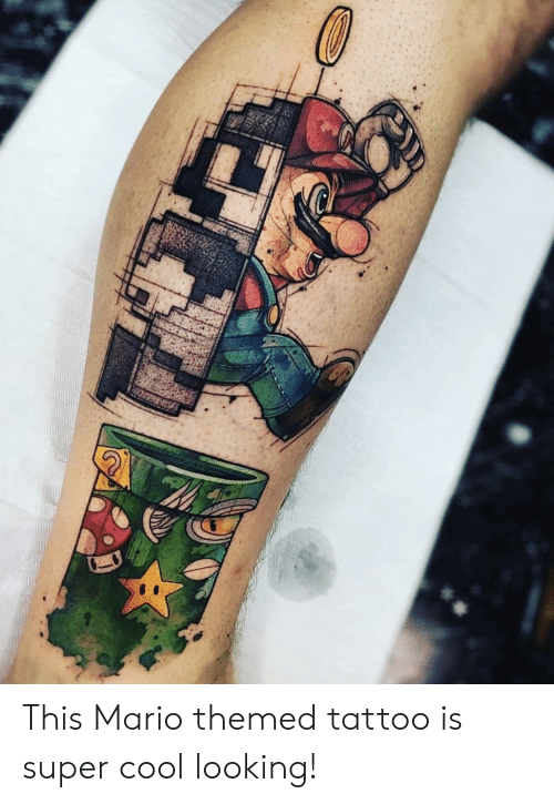 Mario, Cool, and Tattoo: This Mario themed tattoo is super cool looking!