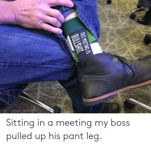 my boss: THIS MEETING S Sitting in a meeting  my boss pulled up his pant leg.
