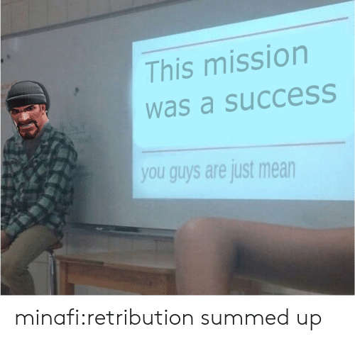 Summed Up: This mission  was a succesS  you guys are just mean minafi:retribution summed up