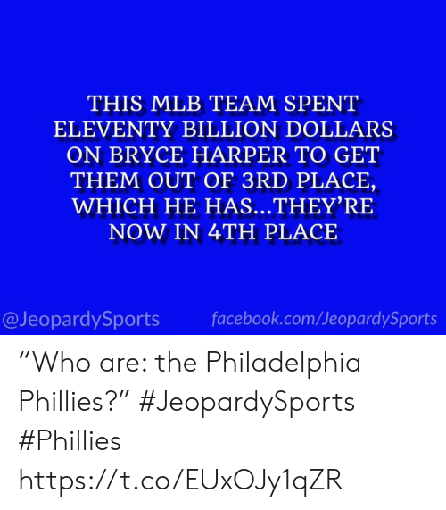 "Facebook, Mlb, and Philadelphia Phillies: THIS MLB TEAM SPENT  ELEVENTY BILLION DOLLARS  ON BRYCE HARPER TO GET  THEM OUT OF 3RD PLACE,  WHICH HE HAS...THEY'RE  NOW IN 4TH PLACE  @JeopardySports  facebook.com/JeopardySports ""Who are: the Philadelphia Phillies?"" #JeopardySports #Phillies https://t.co/EUxOJy1qZR"