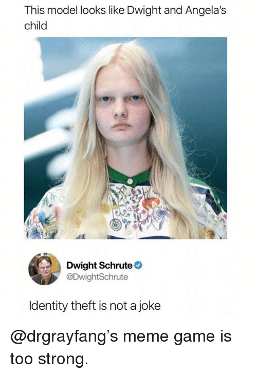 Meme, Memes, and Dwight Schrute: This model looks like Dwight and Angela's  child  Dwight Schrute  @DwightSchrute  ldentity theft is not a joke @drgrayfang's meme game is too strong.