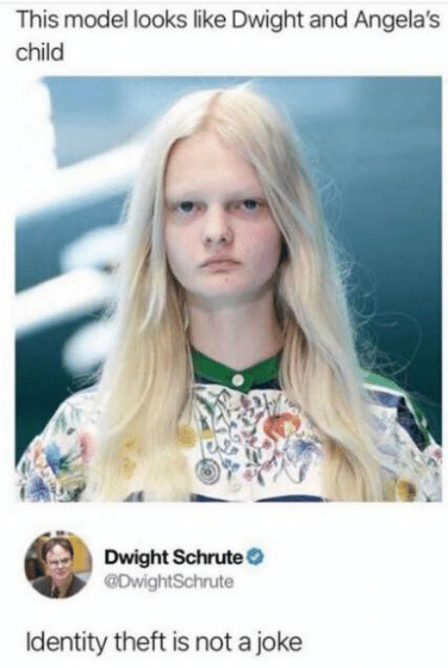 Dank, Dwight Schrute, and 🤖: This model looks like Dwight and Angela's  child  Dwight Schrute  @DwightSchrute  Identity theft is not a joke