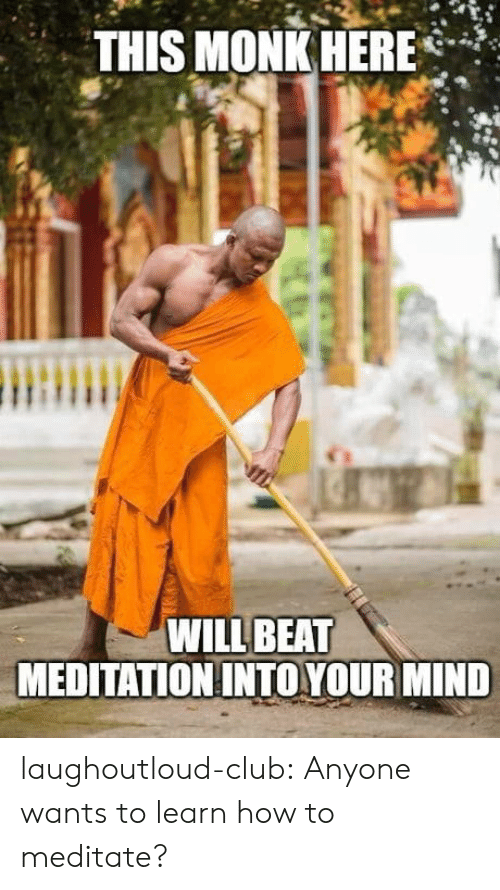 meditate: THIS MONK HERE*  WILL BEAT  MEDITATION INTO YOUR MIND laughoutloud-club:  Anyone wants to learn how to meditate?