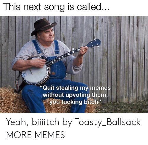"Toasty: This next song is called...  ""Quit stealing my memes  without upvoting them,  you fucking bitch"" Yeah, biiiitch by Toasty_Ballsack MORE MEMES"