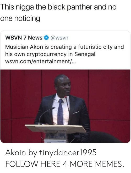Akon: This nigga the black panther and no  one noticing  WSVN 7 News@wsvn  Musician Akon is creating a futuristic city and  his own cryptocurrency in Senegal  wsvn.com/entertainment/... Akoin by tinydancer1995 FOLLOW HERE 4 MORE MEMES.