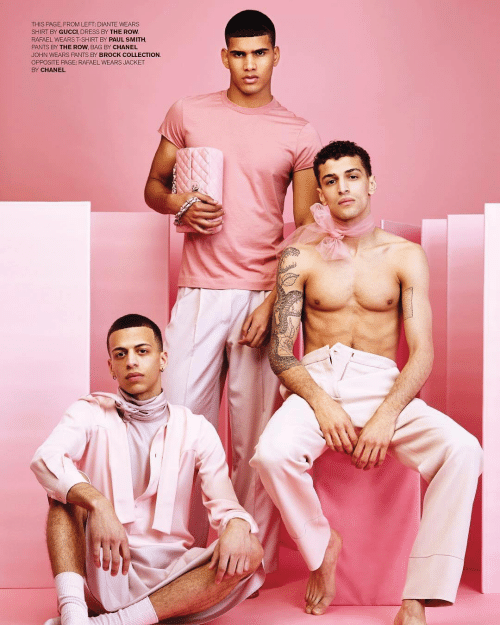 paul smith: THIS PAGE, FROM LEFT: DIANTE WEARS  SHIRT BY GUCCI, DRESS BY THE ROW  RAFAEL WEARS T-SHIRT BY PAUL SMITH,  PANTS BY THE ROW, BAG BY CHANEL  JOHN WEARS PANTS BY BROCK COLLECTION.  OPPOSITE PAGE: RAFAEL WEARS JACKET  BY CHANEL