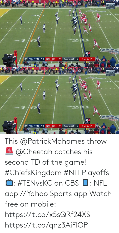 yahoo sports: This @PatrickMahomes throw 🚨  @Cheetah catches his second TD of the game! #ChiefsKingdom #NFLPlayoffs  📺: #TENvsKC on CBS 📱: NFL app // Yahoo Sports app Watch free on mobile: https://t.co/x5sQRf24XS https://t.co/qnz3AiFlOP