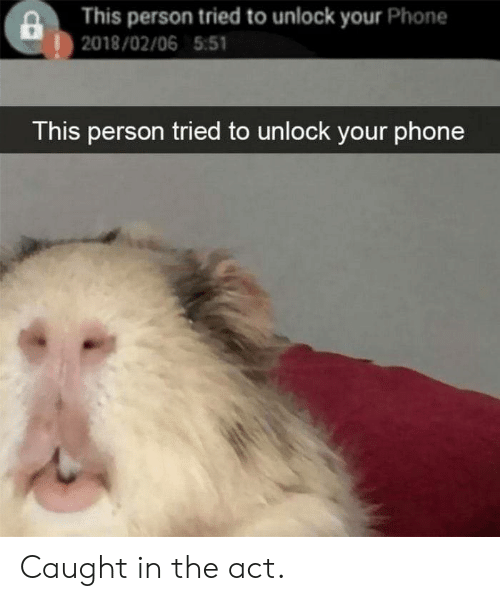 This Person: This person tried to unlock your Phone  |2018/02/06 5:51  This person tried to unlock your phone Caught in the act.
