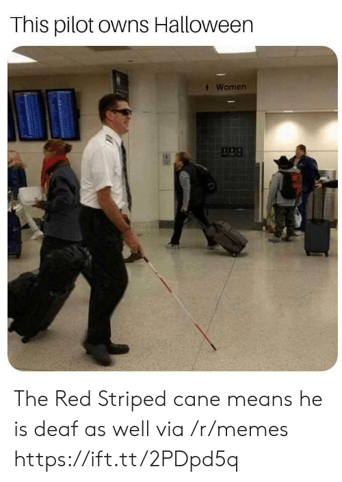 apa: This pilot owns Halloween  Women  apa The Red Striped cane means he is deaf as well via /r/memes https://ift.tt/2PDpd5q