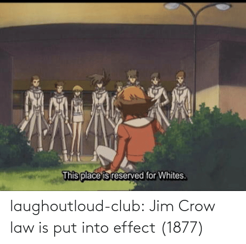 Club, Tumblr, and Blog: This place is reserved for Whites. laughoutloud-club:  Jim Crow law is put into effect (1877)