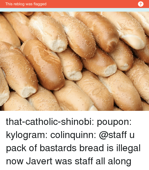 Bailey Jay, Gif, and Tumblr: This reblog was flagged  2 that-catholic-shinobi:  poupon:  kylogram:  colinquinn: @staff u pack of bastards bread is illegal now    Javert was staff all along