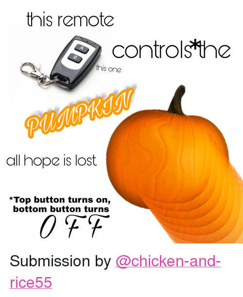 "All Hope Is Lost: this remote  controlsthe  4  this one  all hope is lost  *Top button turns on,  bottom button turns <p>Submission by <a class=""tumblelog"" href=""https://tmblr.co/mC83RrOtWV4oBmFJ3SnKmEA"">@chicken-and-rice55</a></p>"