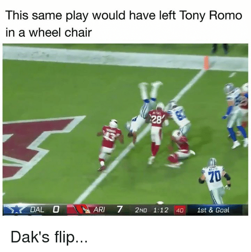 Tony Romo: This same play would have left Tony Romo  in a wheel chair  28  20  DAL O  ARI 7 2ND 1:12 40 1st & Goal Dak's flip...
