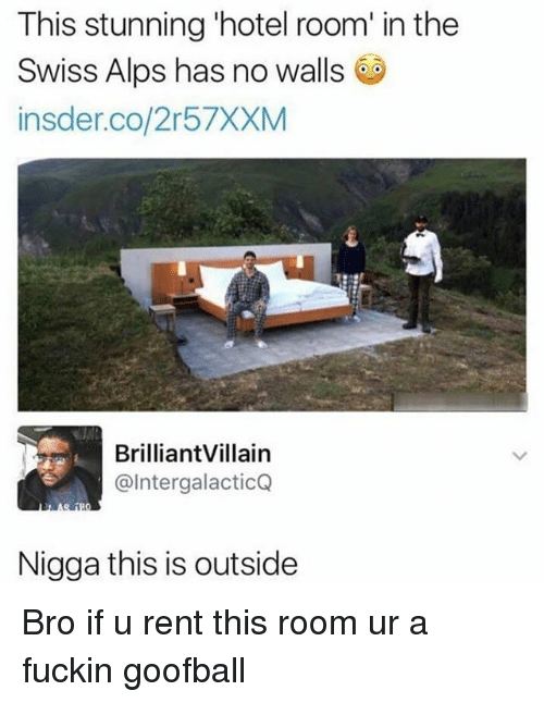 Memes, Hotel, and Swiss: This stunning 'hotel room' in the  Swiss Alps has no walls  insder.co/2r57XXM  BrilliantVillain  @IntergalacticQ  Nigga this is outside Bro if u rent this room ur a fuckin goofball