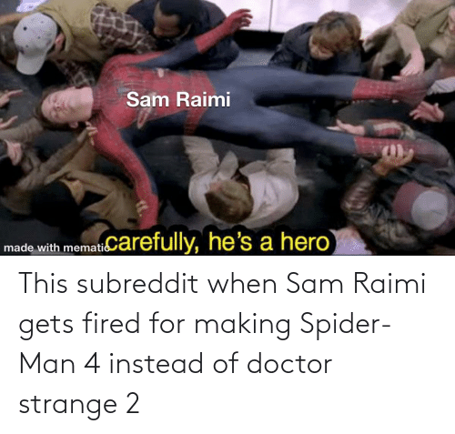 Doctor, Spider, and SpiderMan: This subreddit when Sam Raimi gets fired for making Spider-Man 4 instead of doctor strange 2