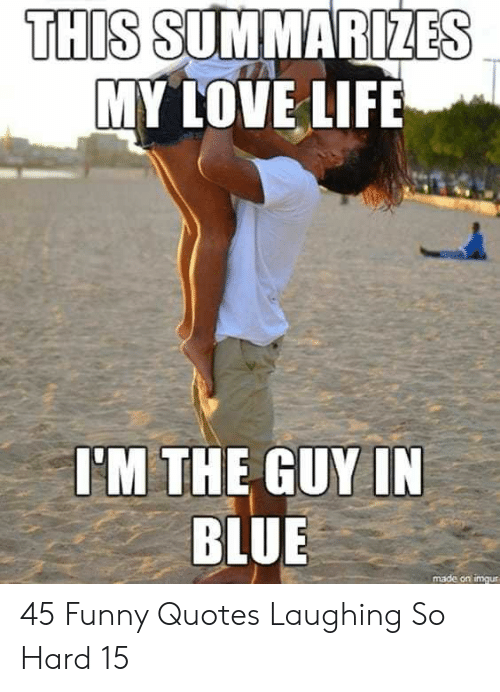 Laughing So Hard: THIS SUMMARIZES  MY LOVE LIFE  I'M THE GUY IN  BLUE  made on imgur 45 Funny Quotes Laughing So Hard 15